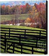 Fences In The Fall Canvas Print by Eva Kato