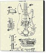 Fender Guitar 1961 Patent Art Canvas Print by Prior Art Design
