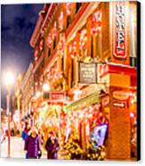 Festive Streets Of Old Quebec Canvas Print by Mark Tisdale