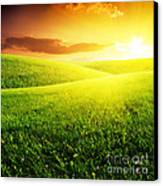Field Of Grass And Sunset Canvas Print by Boon Mee