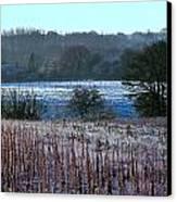 Fields Of Frost Canvas Print by Karen Grist