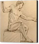 Figure On A Rock Canvas Print by Sarah Parks