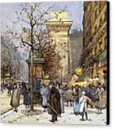 Figures On Le Boulevard St. Denis At Twilight Canvas Print