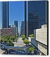 Financial District S. Flower Street Los Angeles Ca Canvas Print by David Zanzinger