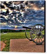 Fire Clouds Over A Gettysburg Cannon Canvas Print by Andres Leon