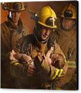 Fire Fighters Rescuing A Baby Canvas Print by Don Hammond