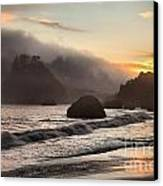 Fire Over The Sea Stacks Canvas Print by Adam Jewell
