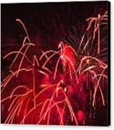Fire Red Orange Fireworks Galveston Canvas Print by Jason Brow