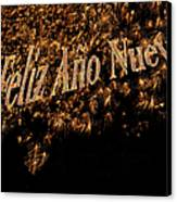 Fireworks Feliz Ano Nuevo In Elegant Gold And Black Canvas Print