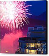 Fireworks In The City Canvas Print by Nancy Harrison