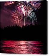 Fireworks In The Country - Pink Canvas Print by Justin Martinez
