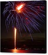 Fireworks Over Lake Canvas Print by Raymond Earley