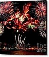Fireworks Over The Delaware Canvas Print by Nick Zelinsky