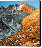 First Light At Longs Peak Canvas Print by Eric Glaser
