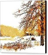 First Snow Last Leaves Canvas Print by Dorothy Walker