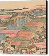 Fish Market By River In Edo At Nihonbashi Bridge  Canvas Print by Hokusai