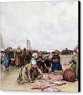 Fish Sale On The Beach  Canvas Print by Bernardus Johannes Blommers