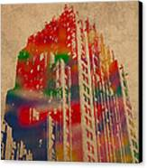 Fisher Building Iconic Buildings Of Detroit Watercolor On Worn Canvas Series Number 4 Canvas Print by Design Turnpike