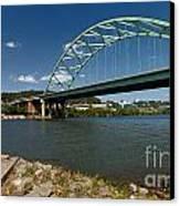 Fisherman At Birmingham Bridge Pittsburgh Pennsylvania Canvas Print by Amy Cicconi
