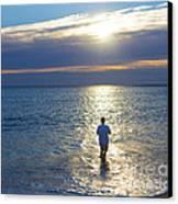 Fisherman At Sunrise Canvas Print by Diane Diederich