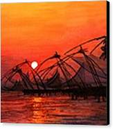 Fisherman Sunset In Kerala-india Canvas Print