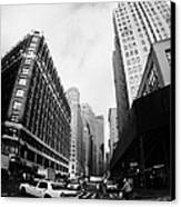 Fisheye Shot Of Yellow Cab On Intersection Of Broadway And 35th Street At Herald Square New York Canvas Print by Joe Fox