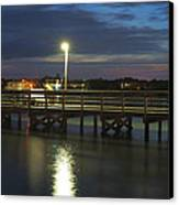 Fishing At Soundside Park In Surf City Canvas Print by Mike McGlothlen