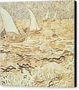 Fishing Boats At Saintes Maries De La Mer Canvas Print by Vincent van Gogh
