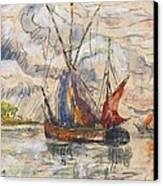 Fishing Boats In La Rochelle Canvas Print by Paul Signac