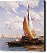 Fishing Craft With The Rivere Degli Schiavoni Venice Canvas Print