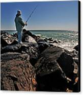 Fishing Off The Jetty Canvas Print by Paul Ward