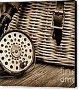 Fishing - Vintage Fly Fishing - Black And White Canvas Print by Paul Ward