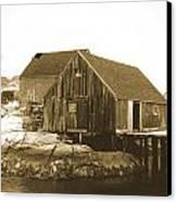 Fishing Wharf At Peggy's Cove Canvas Print by Gordon  Grimwade