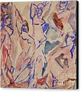 Five Nudes Study Canvas Print