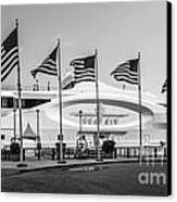 Five Us Flags Flying Proudly In Front Of The Megayacht Seafair - Miami - Florida - Black And White Canvas Print by Ian Monk