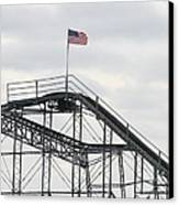 Flag Mounted On Seaside Heights Roller Coaster Canvas Print