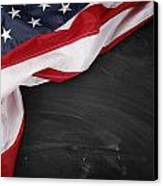 Flag On Blackboard Canvas Print by Les Cunliffe