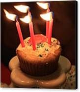 Flaming Birthday Cupcake Closeup Canvas Print by Robert D  Brozek