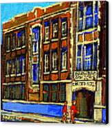 Flashback To Sixties Montreal Memories Baron Byng High School Vintage Landmark St. Urbain City Scene Canvas Print by Carole Spandau