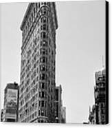 Flat Iron In Black And White Canvas Print by Bill Cannon