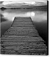 Flathead Lake Dock Sunset - Black And White Canvas Print
