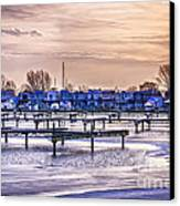 Floating Homes At Bluffers Park Marina Canvas Print