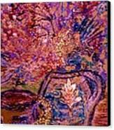 Floral With Gold Leaf On Vase Canvas Print