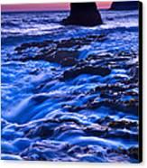 Flow - Dramatic Sunset View Of A Sea Stack In Davenport Beach Santa Cruz. Canvas Print