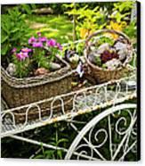 Flower Cart In Garden Canvas Print