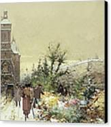 Flower Market Marche Aux Fleurs Canvas Print by Eugene Galien-Laloue