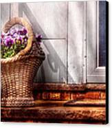 Flower - Pansy - Basket Of Flowers Canvas Print by Mike Savad