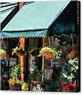 Flower Shop With Green Awnings Canvas Print