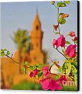 Flowers And Mosque Canvas Print by George Paris