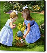 Flowers For Mama With Girls Garden Basket Bouquet Canvas Print by Alice Leggett